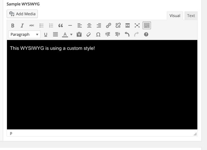 ACF Custom WYSIWYG CSS Example